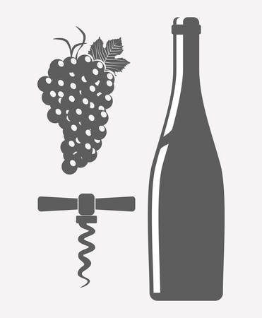 wine bottle with bunch of grapes and corkscrew icon over background. vector illustration