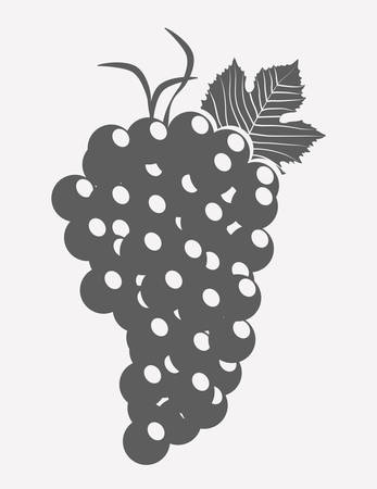 wineglass, grape bunch and corkscrew over white background. vector illustration