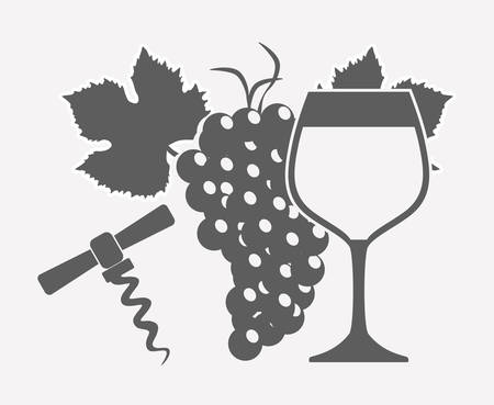 wineglass: wineglass, grape bunch and corkscrew over white background. vector illustration