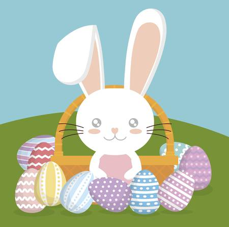 bunny with basket with easter eggs. happy easter concept. colorful design. vector illustration