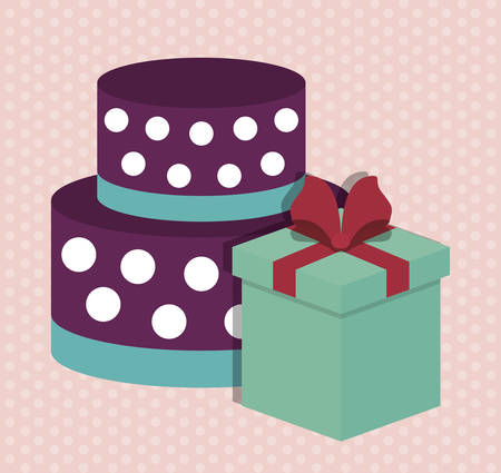 christmas cake: cake and gift box. happy birthday concept. colorful design. vector illustration
