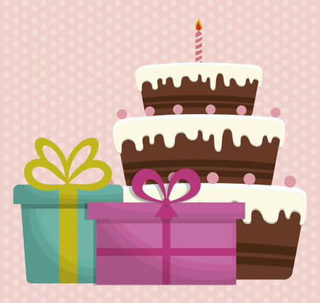 cake and gift boxes. happy birthday concept. colorful design. vector illustration