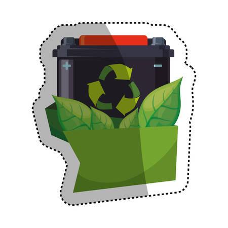 Green energy battery icon vector illustration graphic design Illustration