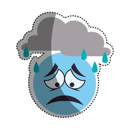 Sad cartoon face icon vector illustration graphic design