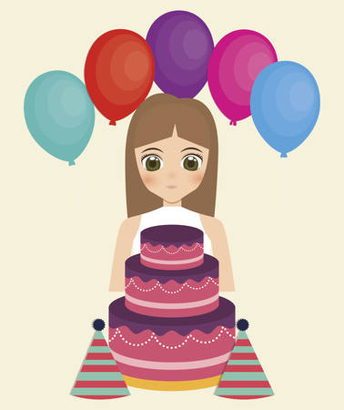 happy birthday card with anime girl and cake. colorful design. vector illustration