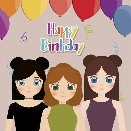 Happy Birthday Card With Anime Girls And Balloons Colorful Design