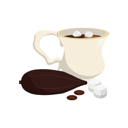 sugar cube: Artistic cool illustration of a Hot chocolate beverage icon vector illustration graphic design