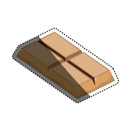 Chocolate bar dessert icon vector illustration graphic design on white concept.