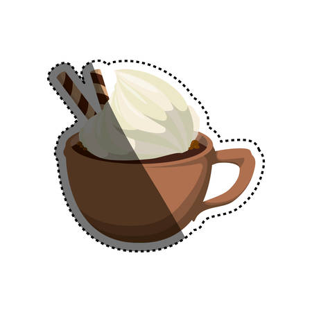 Hot chocolate beverage icon vector illustration graphic design on a brown cup. Illustration