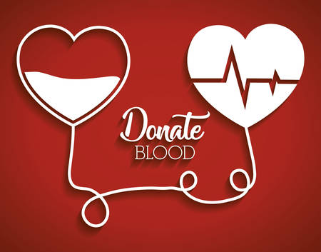 heart cardio and heart with blood over red background. donate blood concept. vector illustration