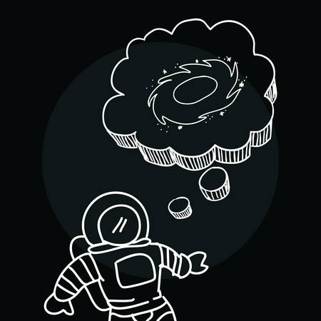 space station: Space and travel scribbles cartoons drawing vector illustration