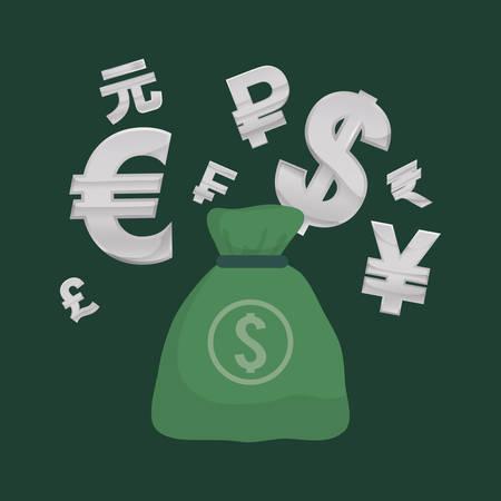 banco mundial: Global money economy icon vector illustration graphic design