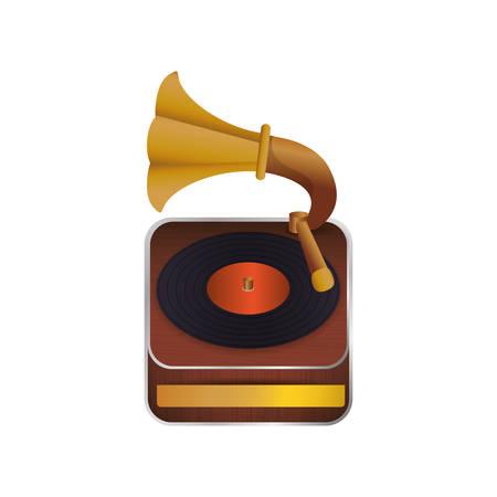 Vintage gramophone music device icon vector illustration graphic design Illustration
