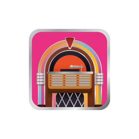 Jukebox rockola icono de la vendimia ilustración vectorial diseño gráfico
