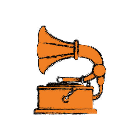 Vintage gramophone music device icon vector illustration graphic design Illustration
