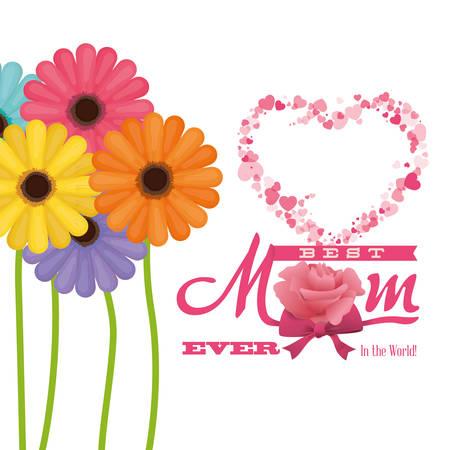 最佳妈妈在世界上 - 鲜花色的心