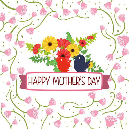 happy mothers day card flower birds - roses sparce