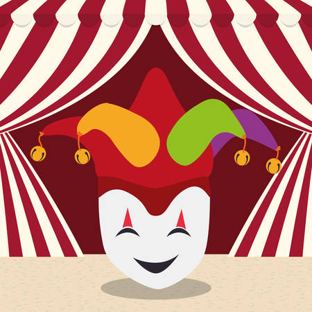 april fools day mask joker hat curtain background vector illustration eps 10