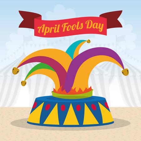 april fools day hat joker ribbon vector illustration eps 10