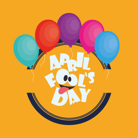 april fools day card colored balloons Illustration