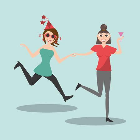 happy women dancing style vector illustration eps 10 Illustration