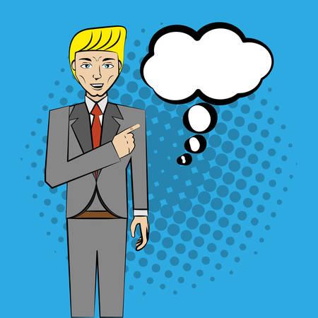 bravo: comic man pop art business speech vector illustration eps 10