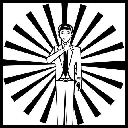 scribe: business man comic outline vector illustration eps 10