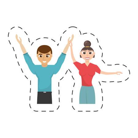 fun couple happy dance vector illustration eps 10 Illustration