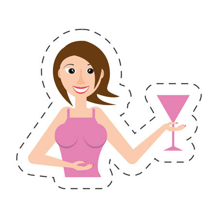 cheerful woman party celebration vector illustration eps 10