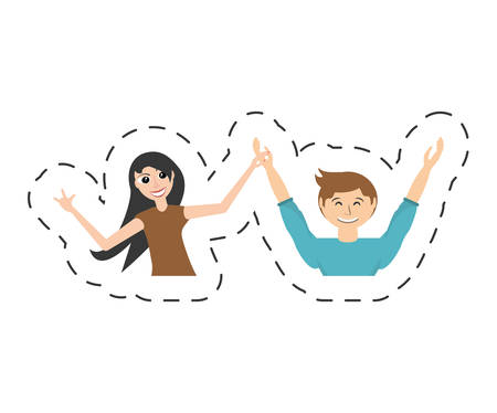fun couple happy dance vector illustration eps 10 Ilustração