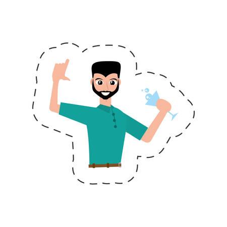 fun guy celebration happy vector illustration eps 10