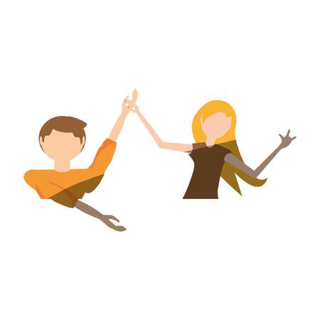 cartoon couple dancing cheerful vector illustration eps 10