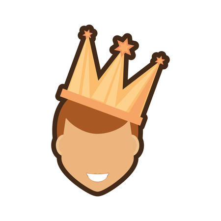 face man smile with crown vector illustration eps 10