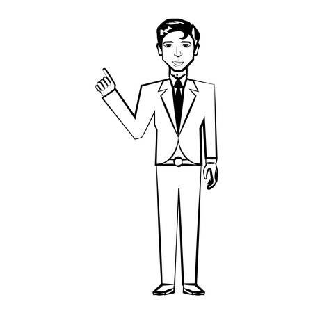 man back pain: Man character posture line illustration. Illustration