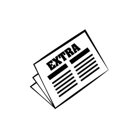 folded paper: Newspaper extra news daily line illustration.