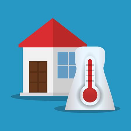 radiator: house thermometer temperature symbol vector illustration