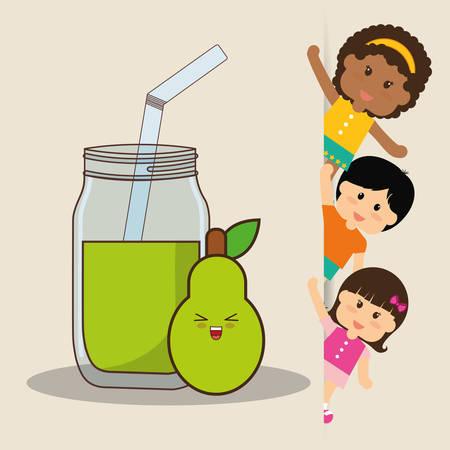 freshly: Children and pear juice fresh vector illustration