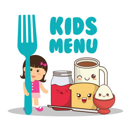 dietary: Kids menu girl fork breakfast diet vector illustration