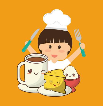 Little chef boy fork knife breakfast cheese egg vector illustration Illustration