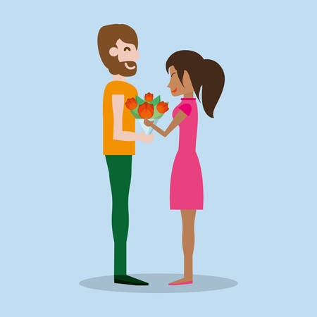 Cute couple with bouquet flowers vector illustration