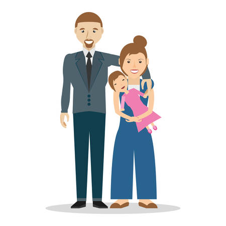Happy Family of three vector illustration Illustration