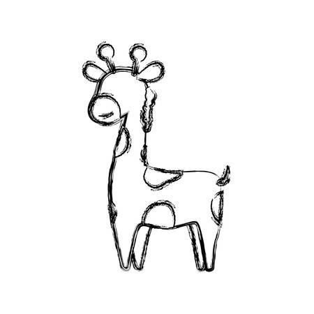 giraffe cartoon animal childish vector icon illustration faceless
