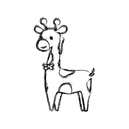 giraffe cartoon animal childish vector icon illustration