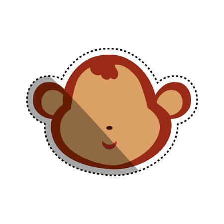 monkey cartoon drawing head vector icon illustration faceless Illustration