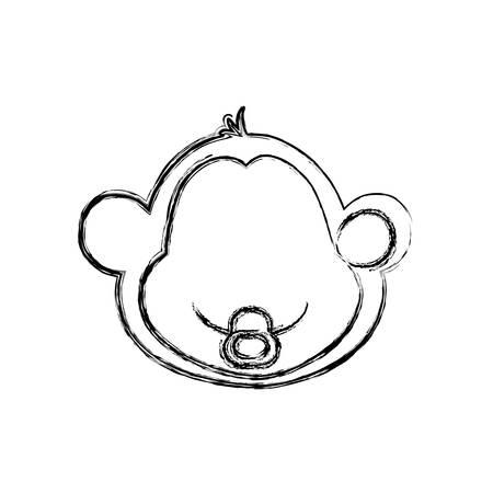 monkey cartoon drawing animal vector icon illustration faceless