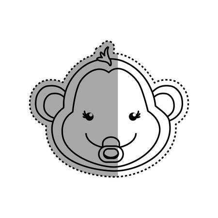 monkey cartoon drawing animal vector icon illustration Illustration