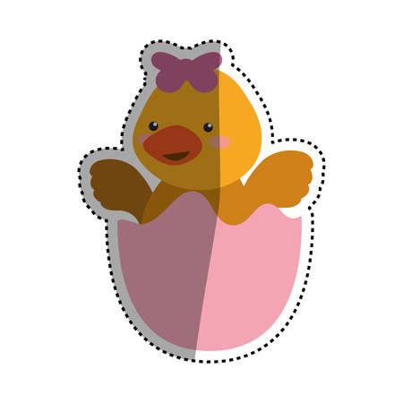 newborn little duckling cartoon vector icon illustration Illustration