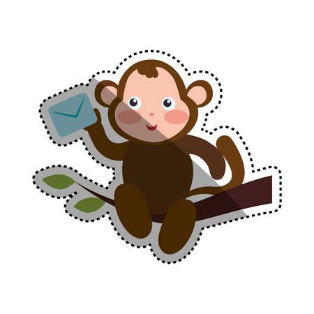 monkey cartoon delivering envelope