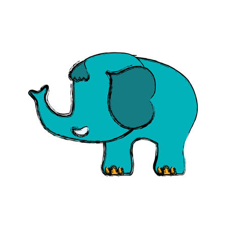 elephant cartoon drawing childish vector icon illustration faceless Illustration