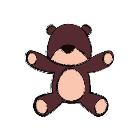 teddy bear cartoon infantile vector icon illustration faceless Illustration